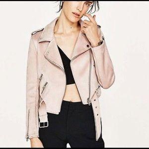 Zara Blush Moto Jacket